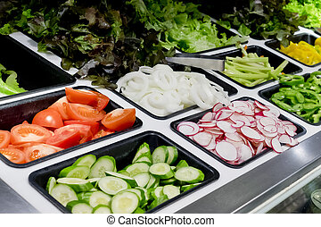 salad bar with vegetables in the supermarket, healthy food