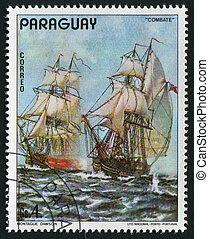 postmark - PARAGUAY - CIRCA 1976: The ancient military ship,...