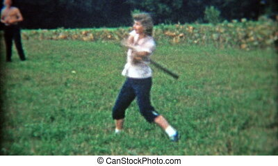 1948: Women with big baseball swing - Original vintage 8mm...