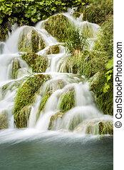 Waterfall in Plitvicka Jezera National Park, Croatia
