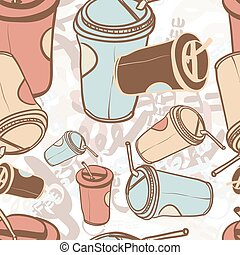 Textile seamless pattern of word coffee labels and takeaway coffee cup