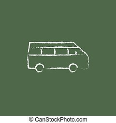 Minibus icon drawn in chalk - Minibus hand drawn in chalk on...