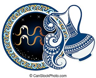 Zodiac signs - Aquarius - Zodiac symbol for your design
