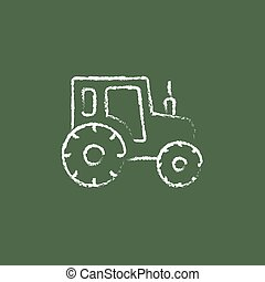 Tractor icon drawn in chalk - Tractor sketch icon hand drawn...