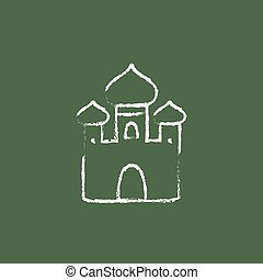 Orthodox church icon drawn in chalk. - Orthodox church hand...