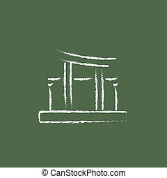 Torii gate icon drawn in chalk - Torii gate hand drawn in...