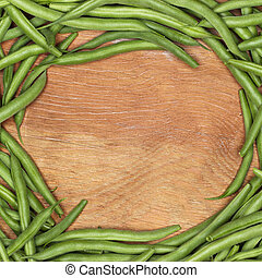 string beans on the table with copy space