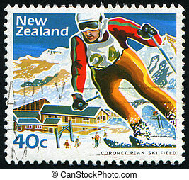 postmark - NEW ZEALAND - CIRCA 1984: Skier, Mount Hult....