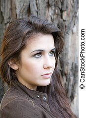 girl with brown eyes - portrait of a girl with brown eyes...