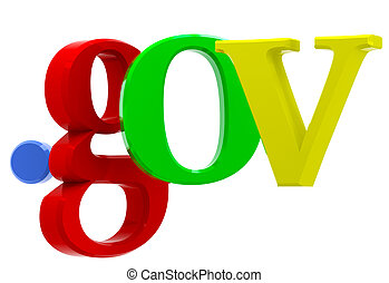 Domain gov - Colorful 3D text with top-level domain gov