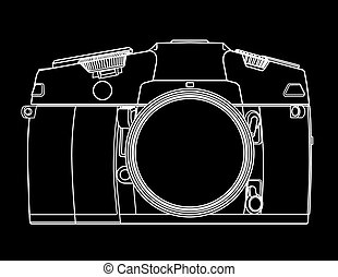 camera - Drawing of camera in the form of white lines on...