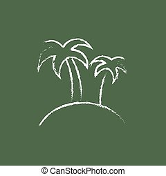 Two palm trees on an island icon drawn in chalk.