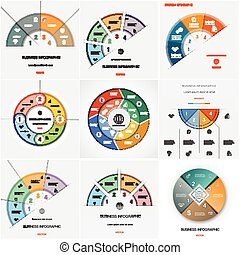 Set 9 templates Infographics cyclic processesFour positions...