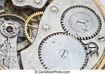 Macro photo close-up view of metal clockwork