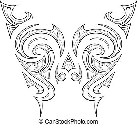 Maori tattoo design - Butterfly tattoo ethnic ornament with...