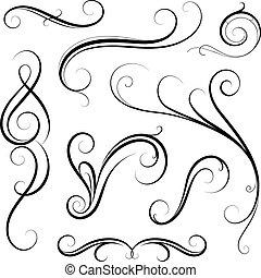 Set of calligraphic swirls