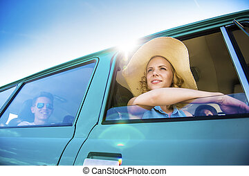 Young people on a road trip - Teenage friends on a road trip...