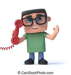 3d Boy in glasses answers the red phone - 3d render of a boy...