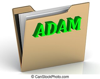 ADAM- Name and Family bright letters on gold folder on a...