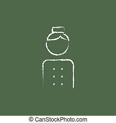 Bellboy icon drawn in chalk. - Bellboy hand drawn in chalk...
