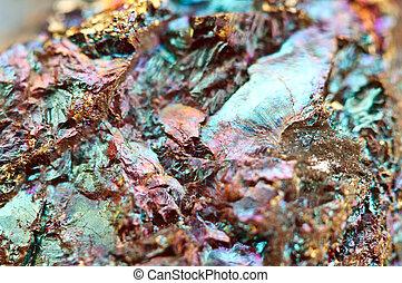 Bornite, también, conocido, como, Pavo real, mineral,...
