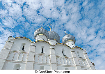 Dormition Cathedral Kremlin of ancient town of Rostov...