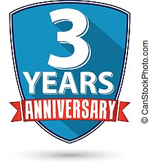Flat design 3 years anniversary label with red ribbon,...
