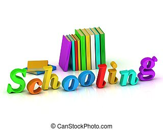Schooling inscription bright volume letter and textbooks and...