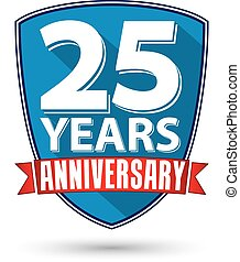 Flat design 25 years anniversary label with red ribbon,...
