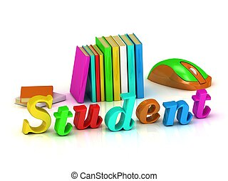 Student inscription bright volume letter and textbooks and...