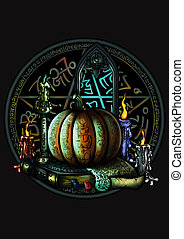 Halloween magic emblem with a pentagram and a pumpkin -...