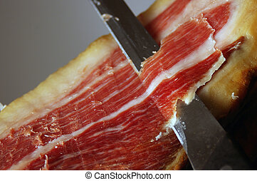 Court of a typical Jamon Iberico ham from Spain - Picture of...