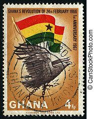 postmark - GHANA - CIRCA 1966: Eagle and flag, circa 1966.