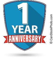 Flat design 1 year anniversary label with red ribbon, vector...