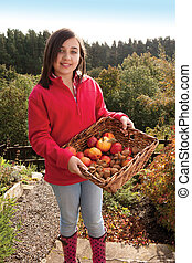 Girl with a basket of fruit - Girl with basket of...