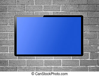 Blank screen LCD tv hanging on a wall