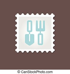 Garden tool stamp. Outline vector illustration - Garden...