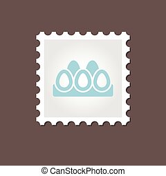 Chicken eggs tray stamp. Outline vector - Chicken eggs in a...