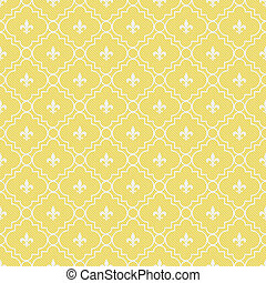 Yellow and White Fleur-De-Lis Pattern Textured Fabric...