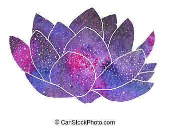 Galaxy lotus. Hand-drawn cosmic flower. Real watercolor...