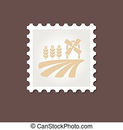 Field with a mill and wheat stamp. Outline vector