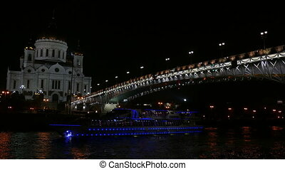 Cathedral of Christ the Savior and bridge at night UHD