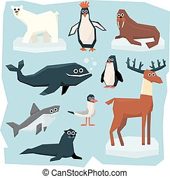 Arctic and Antarctic Animals, Fish Set - Vector set of...