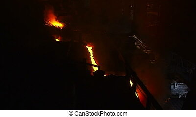 Top view of the river of fire in the metal shop - Molten...