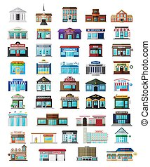 Set of the flat city buildingss and shops - Set of the...