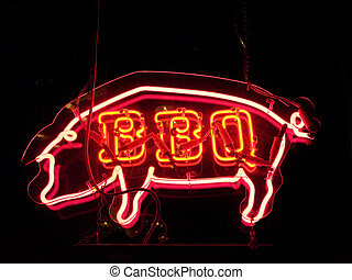 BBQ pig neon sign - A neon sign in the shape of a pig...