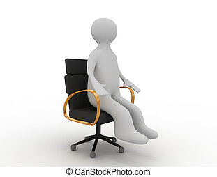 3d man sitting on business chair