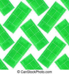 Tennis court. Seamless pattern with hand-drawn grass surface...