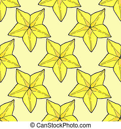 Starfruit or carambola. Seamless pattern with fruits....