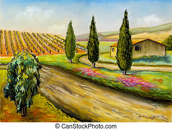 Farmland - Beautiful vineyards landscape in Tuscany, central...